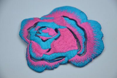 NEON PINK BLUE ROSE FLOWER 3' 8cm SEW IRON ON  PATCH BADGE EMBROIDERY APPLIQUE