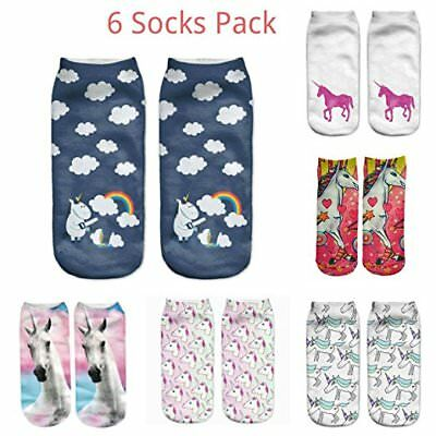 6 Socks Pack Unicorn 3D Print Polyester Socks Woman Kids Unisex Low Cut Ankle
