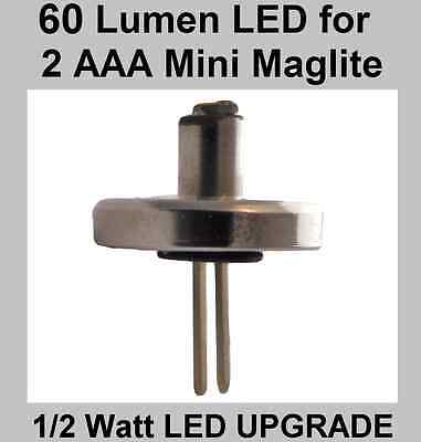 Mini Maglite LED 2 AAA Torch LED Upgrade Bulb. Brightest Conversion Available