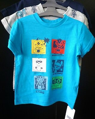 MOTHERCARE BOYS SUPERHERO 3 PACK T-SHIRTS SHORT SLEEVE TOP BLUE GREY 18-24m NEW