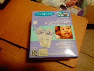 Lansinoh Breastmilk Storage Bags BPA Free and BPS Free 50 Count +10 NEW
