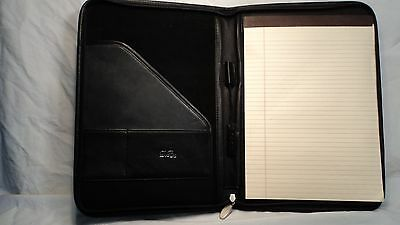 Debon 4291 Black Leather Zippered Letter Sized Writing Pad