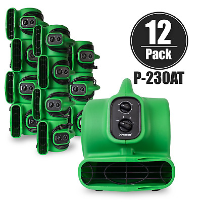 XPOWER P-230AT 1/5 HP Mini Air Mover Carpet Dryer w/ Timer & Outlets-12 Pack