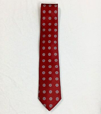 Joseph Abound Collection Men's Red Geometric 100% Silk USA Made Neck Tie 3.5""