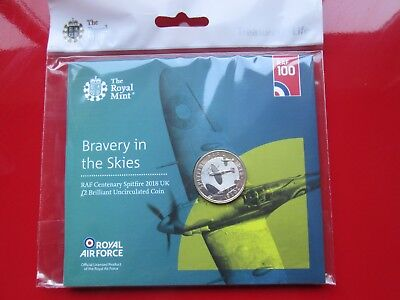 2018 RAF Centenary Spitfire £2 Pound Coin Brilliant Uncirculated Mint Condition