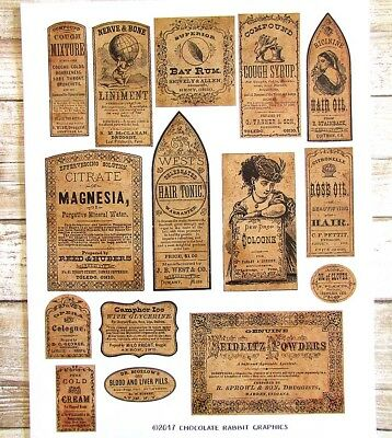 Vintage Pharmacy Labels Sticker Sheet, Apothecary Labels, Set of 15 Labels