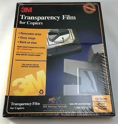 "NEW - 3M Color Laser Transparency Film for Copiers 100 Sheets 8.5"" X 11"" PP2200"
