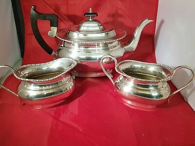 beautiful antique silver plated tea set on scrolled legs by viners of sheffield