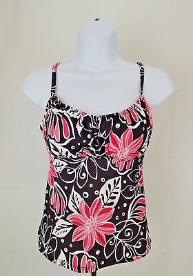 4aef4c59b0b5f Jamaica Bay Womens Brown Pink White Floral Print Tankini Swimsuit Top Size  10