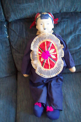 Vintage Blue & White Asian Chinese Porcelain Doll - 24""
