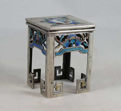 Antique Chinese Export Silver & Enamel Stand, Miniature Table
