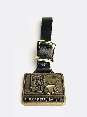 Vintage Caterpillar CAT 931 LOADER Watch Fob Brass Tone Black Leather Strap