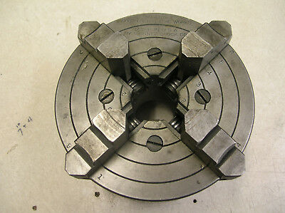 """6 Inch (6"""")  4 Jaw Independent Southbend Lathe Chuck threaded 21/4-8 backing pla"""