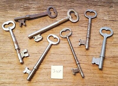 Lot of 7 Old Antique SKELETON KEYS - Vintage Key Steampunk Steamer Corbin
