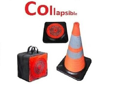 Collapsible Traffic Cone LED Lighted Safety Heavy-Duty  w/ Carry Case