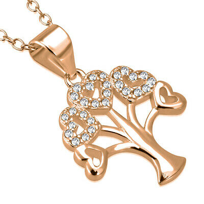 """925 Sterling Silver Rose Gold-Tone CZ Love Heart Tree Life Pendant Necklace, 18"""""""