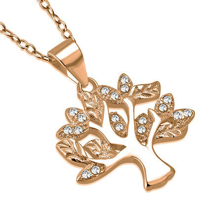 """925 Sterling Silver Rose Gold-Tone CZ Tree of Life Pendant Necklace, 18"""""""