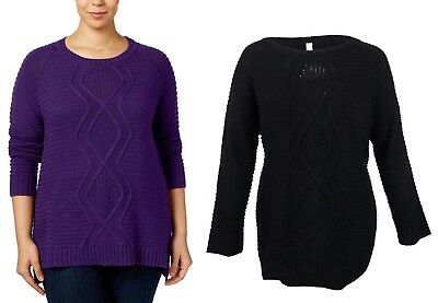 cb05b8a34b NY Collection Women s Plus Size Cable Knit Scoop Neck Pullover Sweater