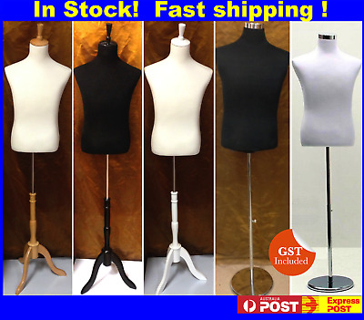 Cotton Cover Male White Black Mannequin Torso With Tripod Wooden Chrome Stand