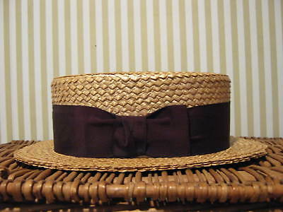 Vtg Brooks Brothers Straw Boater Skimmer Hat With Ribbon Band Long Oval 7 1/8