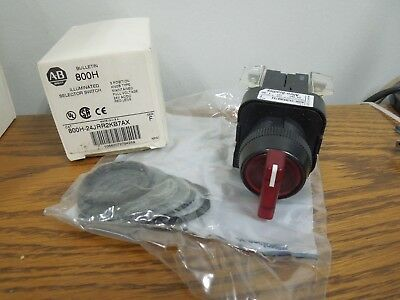 Allen Bradley 800H-24JRR2KB7AX Illuminated Selector Switch 3 Pos. Maintained New