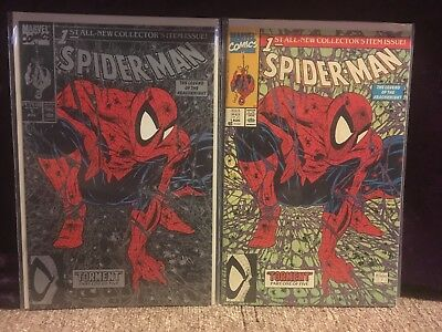 2 high grade copies of SPIDER-MAN#1 TODD MCFARLANE SILVER & GREEN COVERS