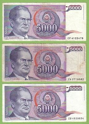 Yugoslavia - Lot - 3 banknotes - 1985 - F/VF - REPLACEMENT - Josip Broz Tito