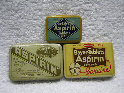 Vintage Aspirin Tin Lot Of Three