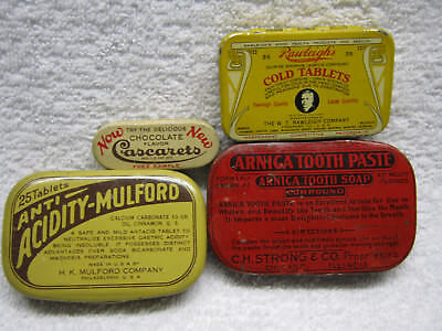 Vintage Medicine And One Dental Tin Lot Of Four