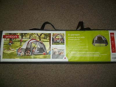 NEW Embark Instant 6 PERSON Tent with screen porch 3 Minute Setup C&ing NIB & NEW EMBARK 6 Person Speed-Up Tent with SCREEN PORCH Camping 3 ...