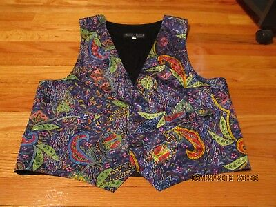Vintage Circa 1980's Etc. (Extremely Tasteful Clothing) Colorful Vest L Prom