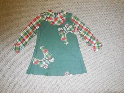 Vintage 70s Girls Dress Green Plaid Butterfly