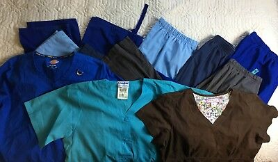 Scrubs Shirts Pants Dickies Landau Women Size Medium Lot Of 8 Blue Brown Gray