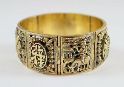 "Vintage Chinese Gilt Silver Repousse & Scenic Panel Bracelet,  7"" Long, Signed"
