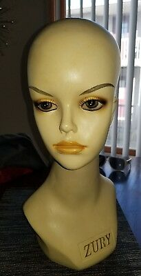 VTG Mannequin Advertisement Store Display Head by Zury, Female Plastic bust