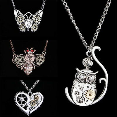 Men Vintage Classic Steampunk Heart Shape Gear Pendant Necklaces Jewelry Gifts