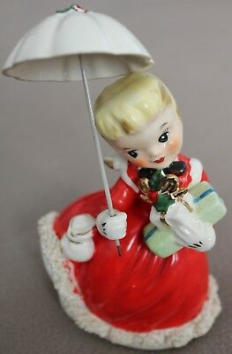 1950's Vintage Napco Christmas Girl Figurine Shopping w/ Parasol & Gifts Japan