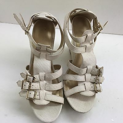 3d007c296859 Express Women s Platform Wedge Multi Buckle Strappy Ivory Sandals Size 9 M