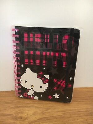 Hello Kitty Spiral Journal/Notebook Black And Pink Plaid