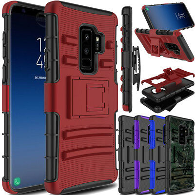 For Samsung Galaxy S9+ Plus Shockproof Holster W/Kickstand Belt Clip Case Cover