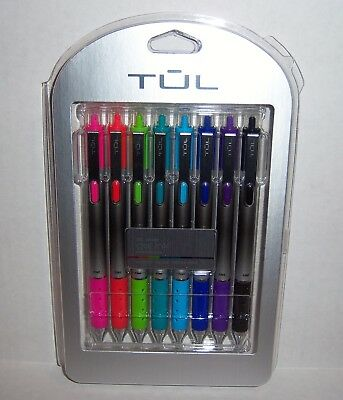 TUL Retractable Gel Pens Fine Point 0.5 mm Various Bright Colors 8 Pack -NEW