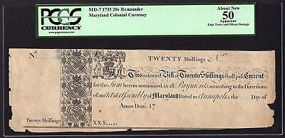 1733 Maryland Colonial Note PCGS 50 APPARENT MD-7 20s Twenty Shillings