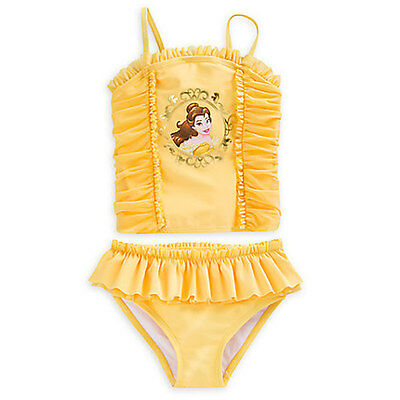 NWT Disney Store Princess Belle Swimsuit Beauty and The Beast  2pc UPF 50+ Girls