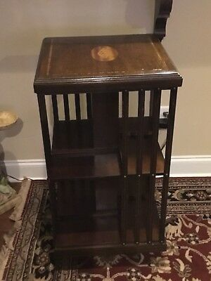 Beautiful Antique 19th Century Marquetry Inlaid Revolving Bookcase-Excellent!