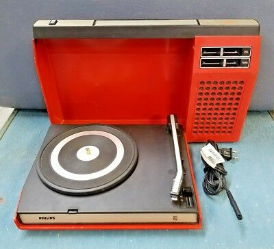 PHILIPS GF 423 Record Player Portable Suitcase Vintage 70s Record Player RED!