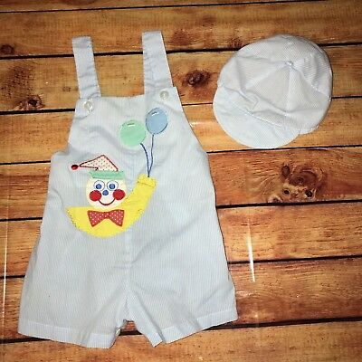 Vintage Baby Boy Sunsuit Romper with matching hat Size 24 months