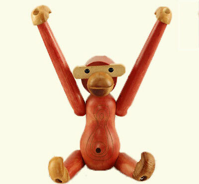 "8.27"" Denmark Style Wood Figurine Monkey Flexible Joint Home Decor Doll - Red"