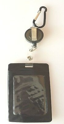 Retractable Lanyard Black Business ID Card Opal Card Badge Holder Brand New