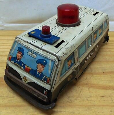Bus Tin Toy Friction Musical Bus Coach Vintage Old Antique #V7016