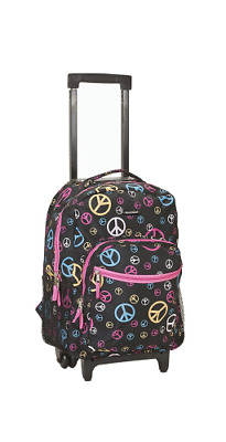 """Backpack With Wheels Girls Rolling School Bag Travel Luggage Back Pack 17"""" Kids"""